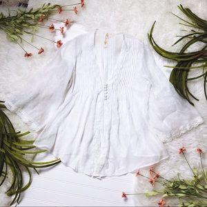 White Sheer Boho Bell Sleeve Top